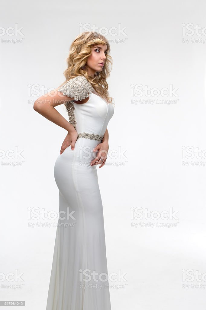 Girl in a white dress Athena stock photo