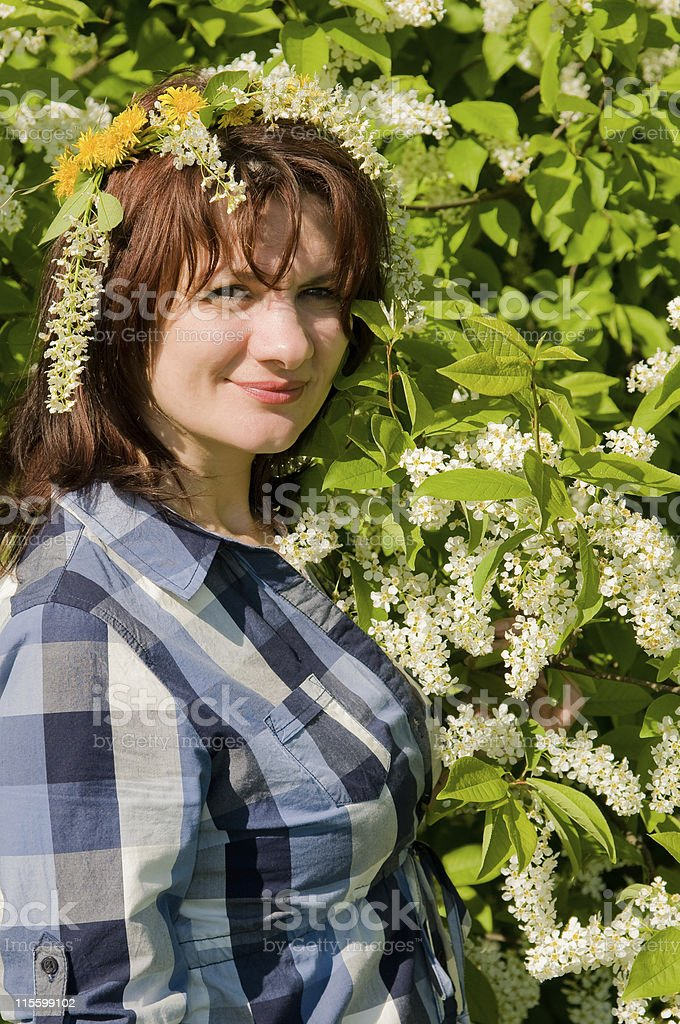 girl in a wreath royalty-free stock photo