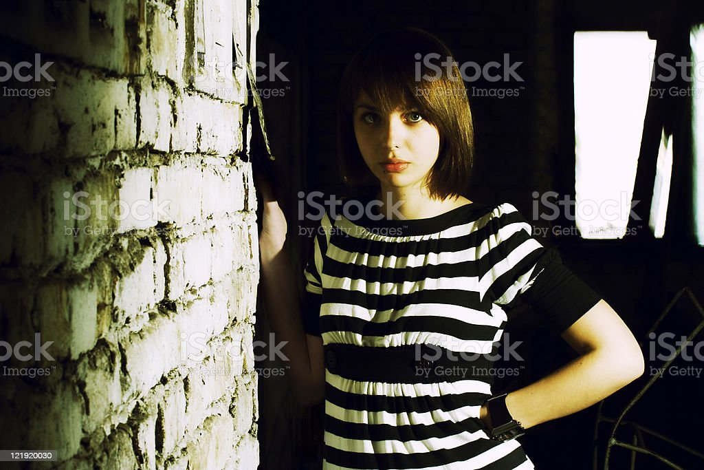 girl in abandoned place royalty-free stock photo