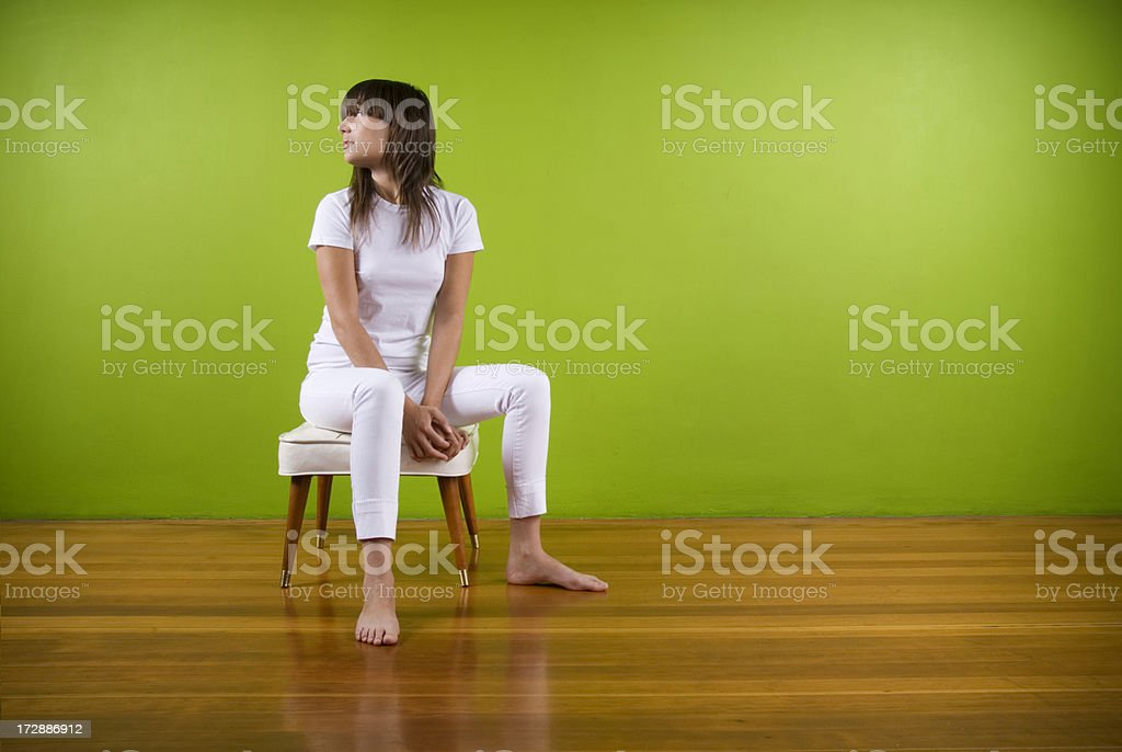 Girl In All White. royalty-free stock photo
