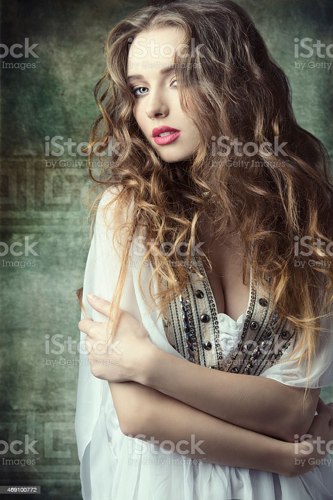 girl in antique fashion shoot stock photo