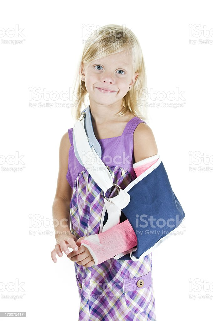 Girl in arm sling royalty-free stock photo