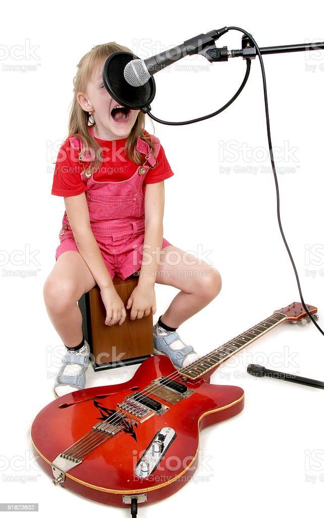 girl in audio studio royalty-free stock photo