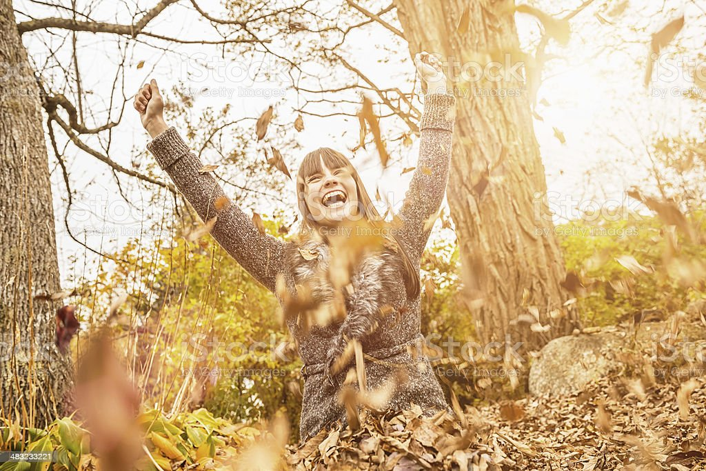Girl in Autumn Forest stock photo