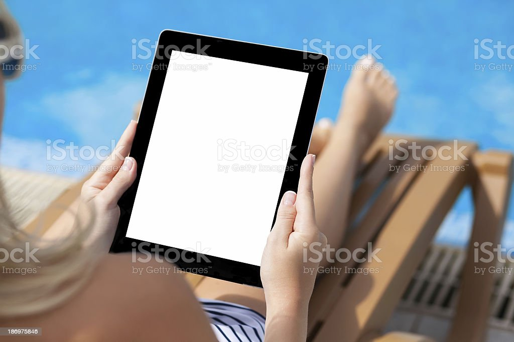 girl in bathing suit lying on sun lounger the pool royalty-free stock photo
