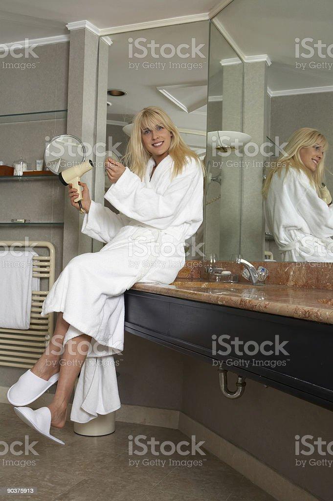 Girl in bathroom royalty-free stock photo