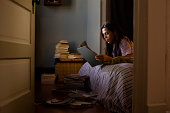 girl in bedroom at night