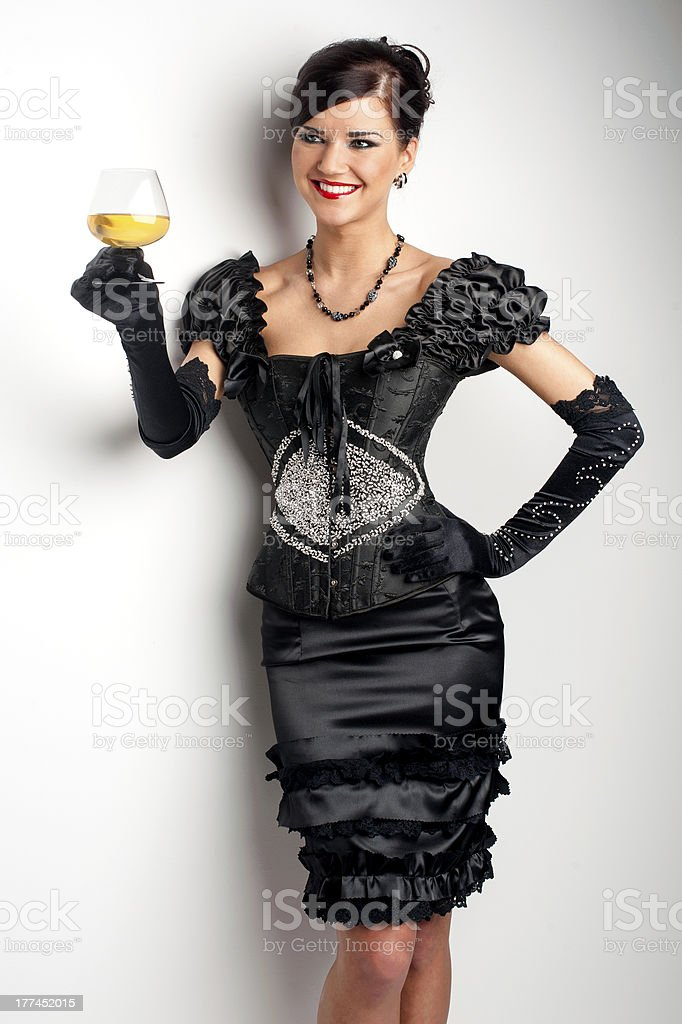 Girl in black evening beaded dress royalty-free stock photo
