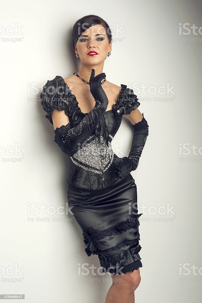 Girl in black evening beaded dress royalty-free stock photo