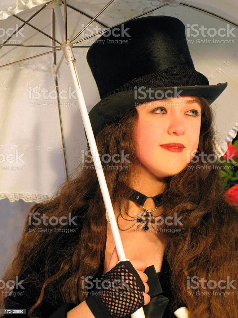Girl In Black Top Hat With White Parasol royalty-free stock photo