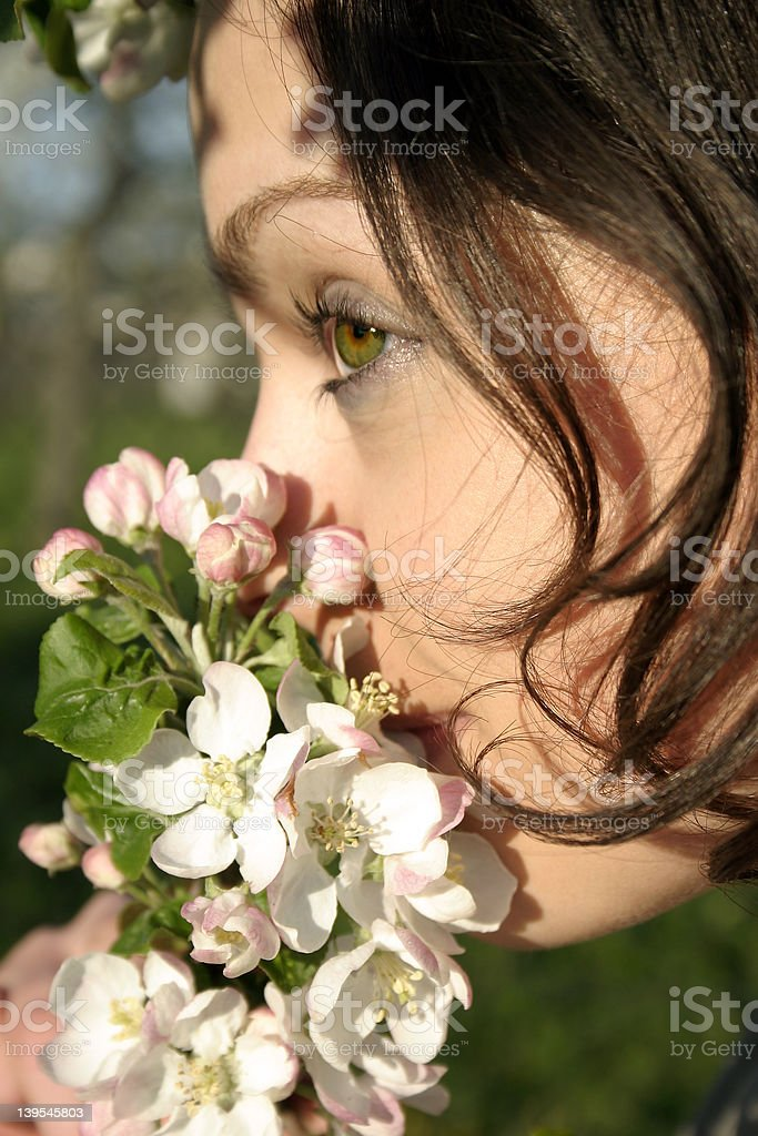 Girl in blossom 01 royalty-free stock photo