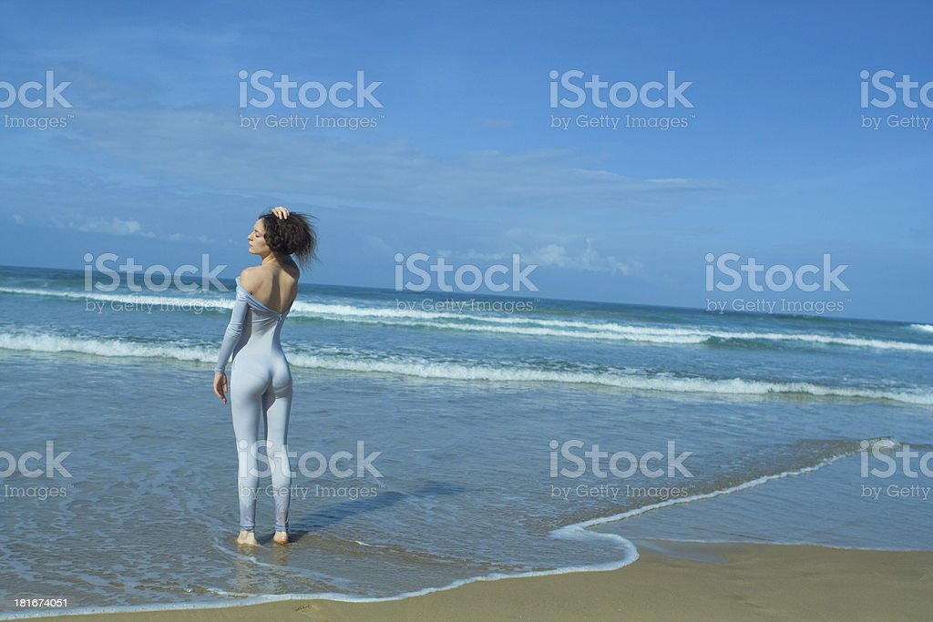 girl in blue body royalty-free stock photo