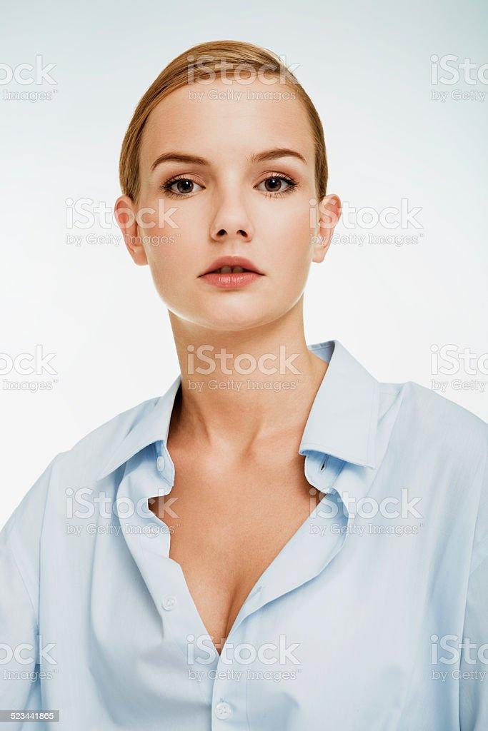 Girl in Blue Shirt. stock photo