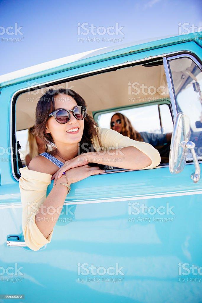 Girl in camper van royalty-free stock photo