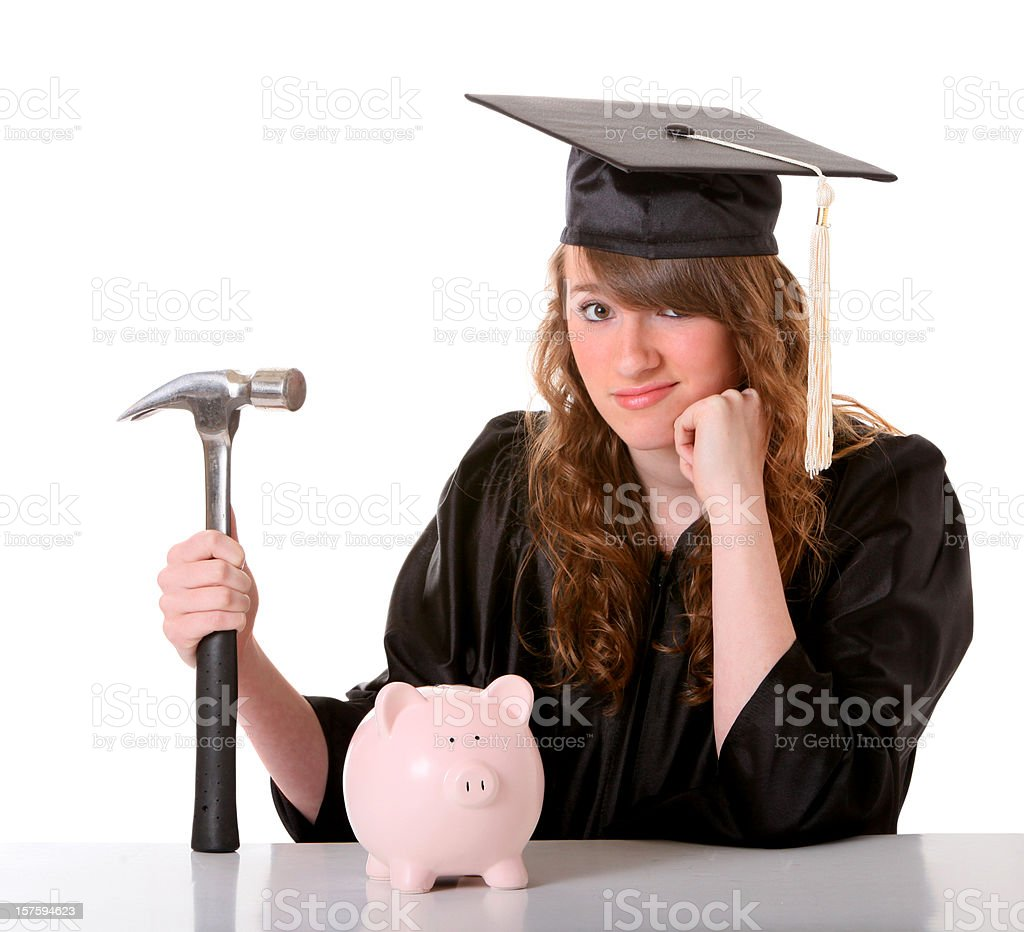 girl in cap  gown with hammer and bank royalty-free stock photo