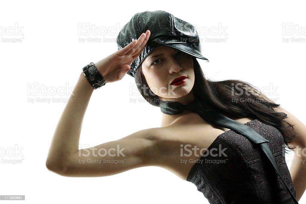 girl in cap royalty-free stock photo