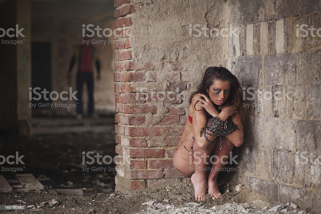 Girl in chains royalty-free stock photo
