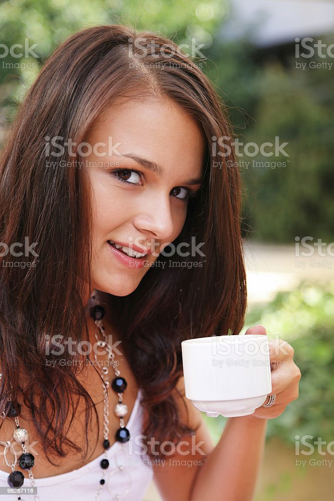 girl in coffee break stock photo