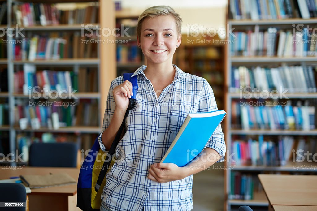 Girl in college stock photo