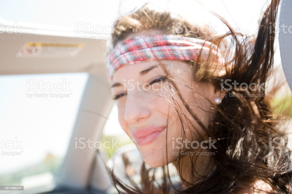 Girl in Convertible royalty-free stock photo