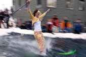 Girl in costume pond skimming