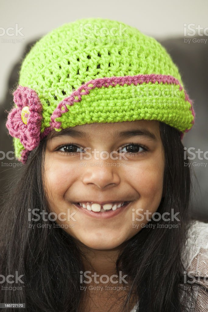Girl in crocheted hat royalty-free stock photo