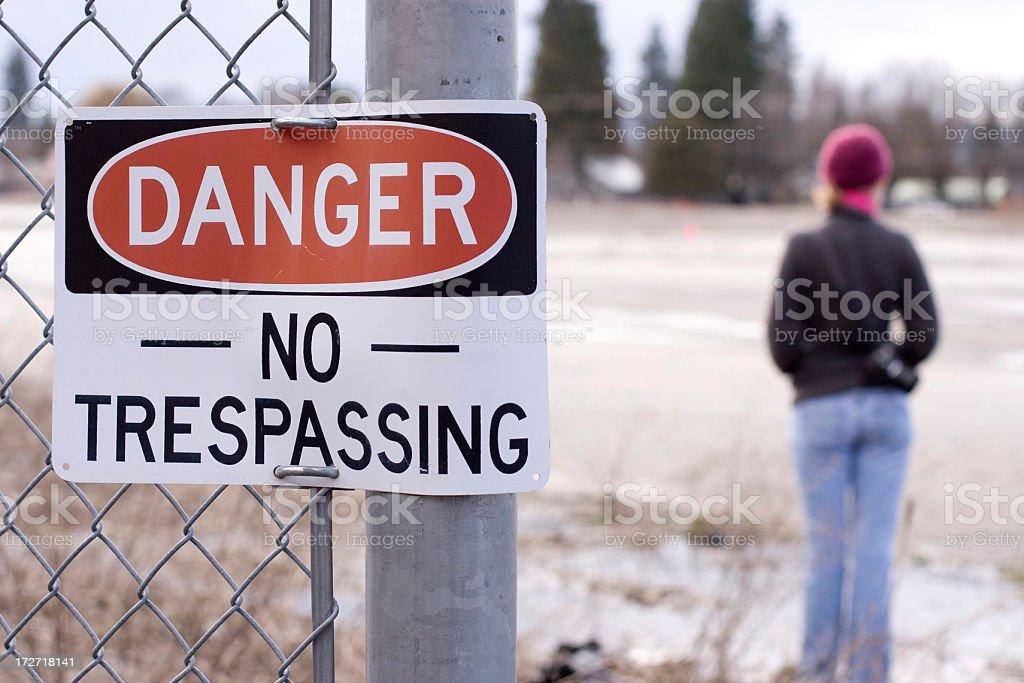 Girl in Danger Zone stock photo