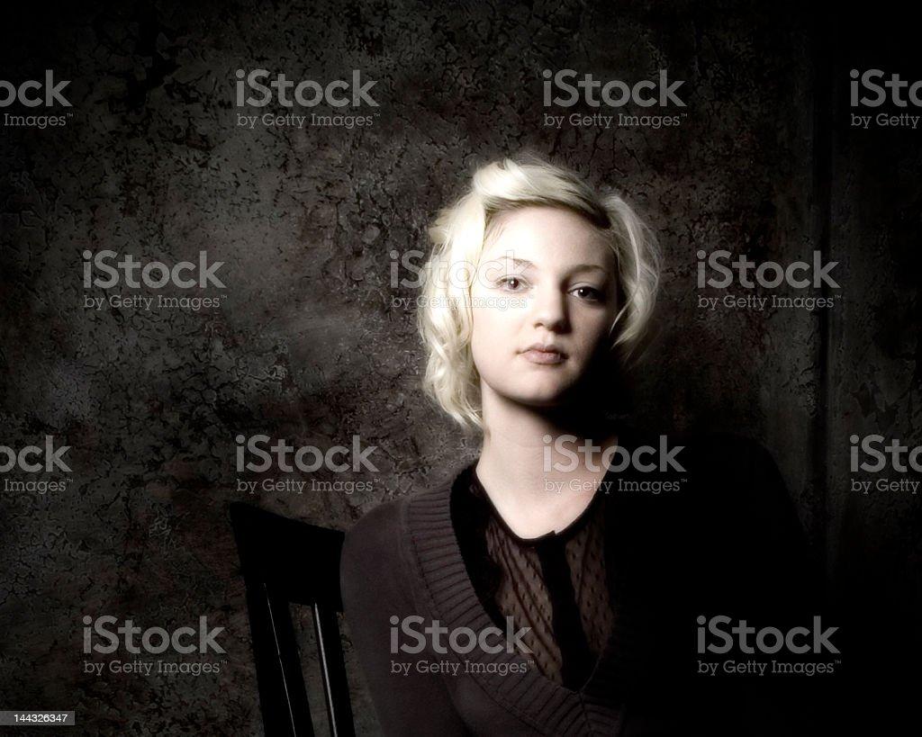 girl in dark corner royalty-free stock photo