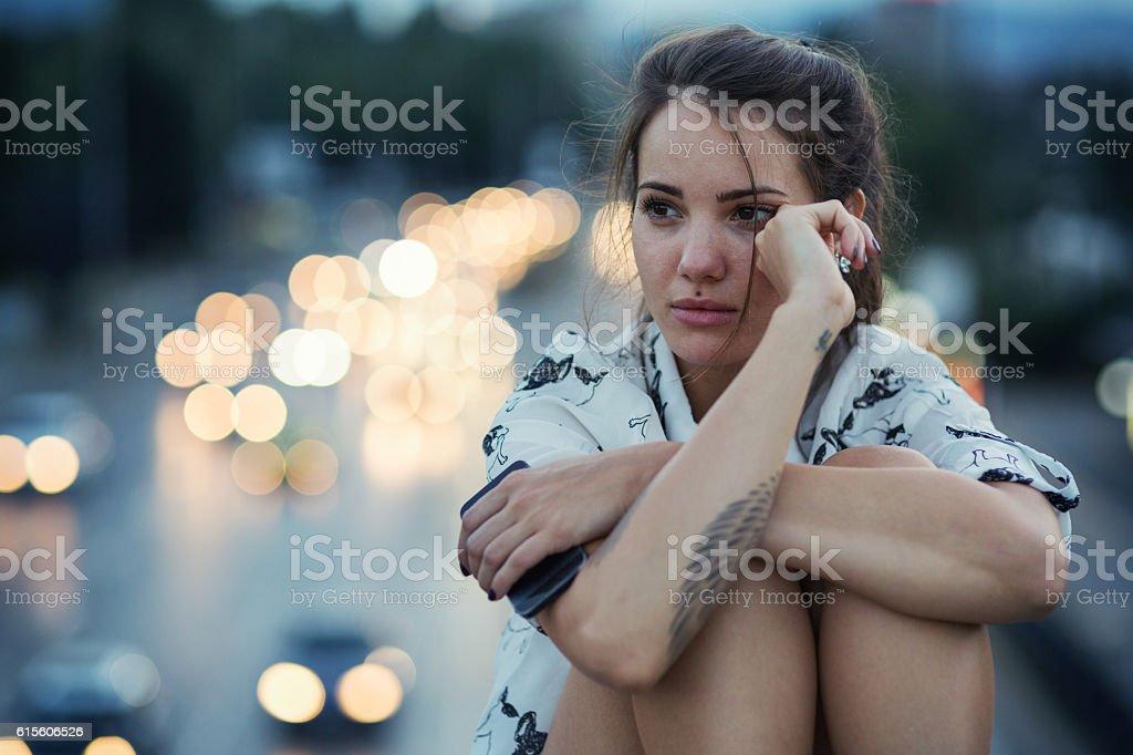 Girl in depression stock photo