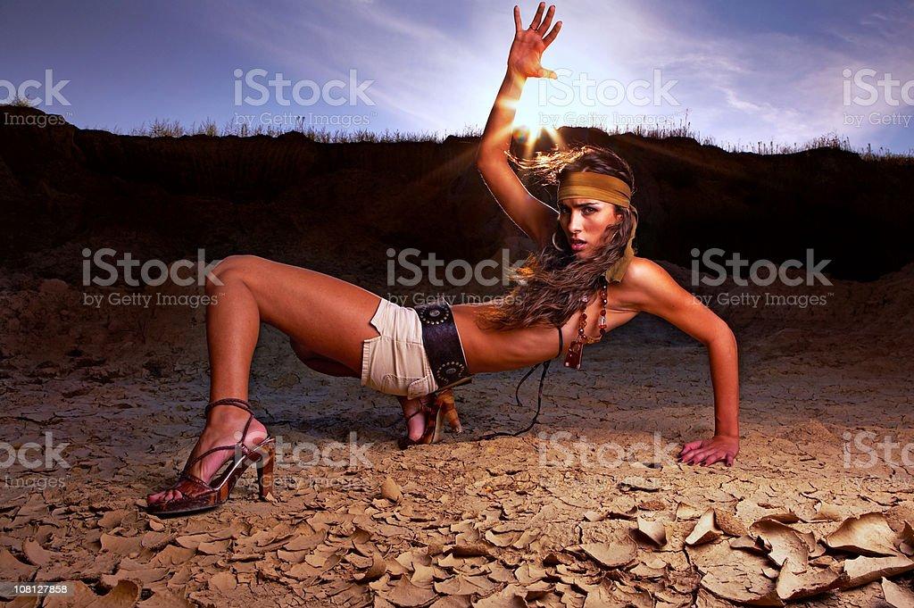 Girl in desert stock photo