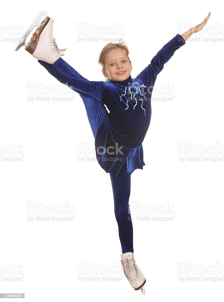 Girl in  dress on skates. royalty-free stock photo