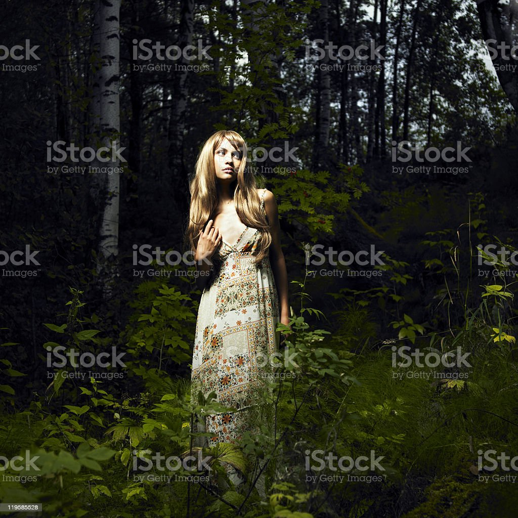 Girl in fairy forest royalty-free stock photo