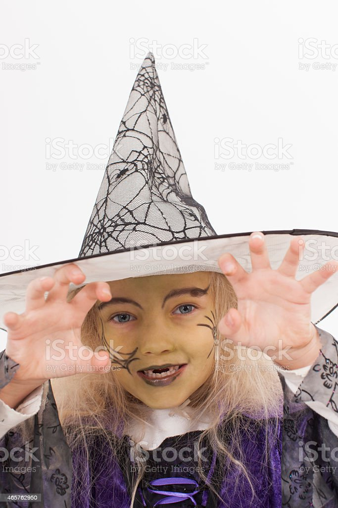 Girl in fancy dress costume for halloween stock photo