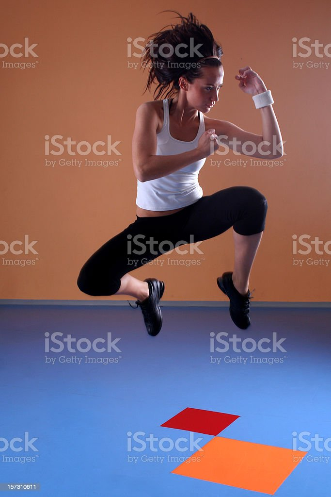 Girl in fencing pose royalty-free stock photo