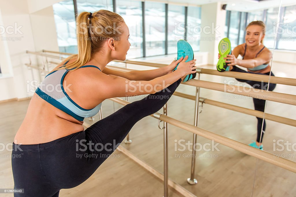 Girl in fitness class stock photo