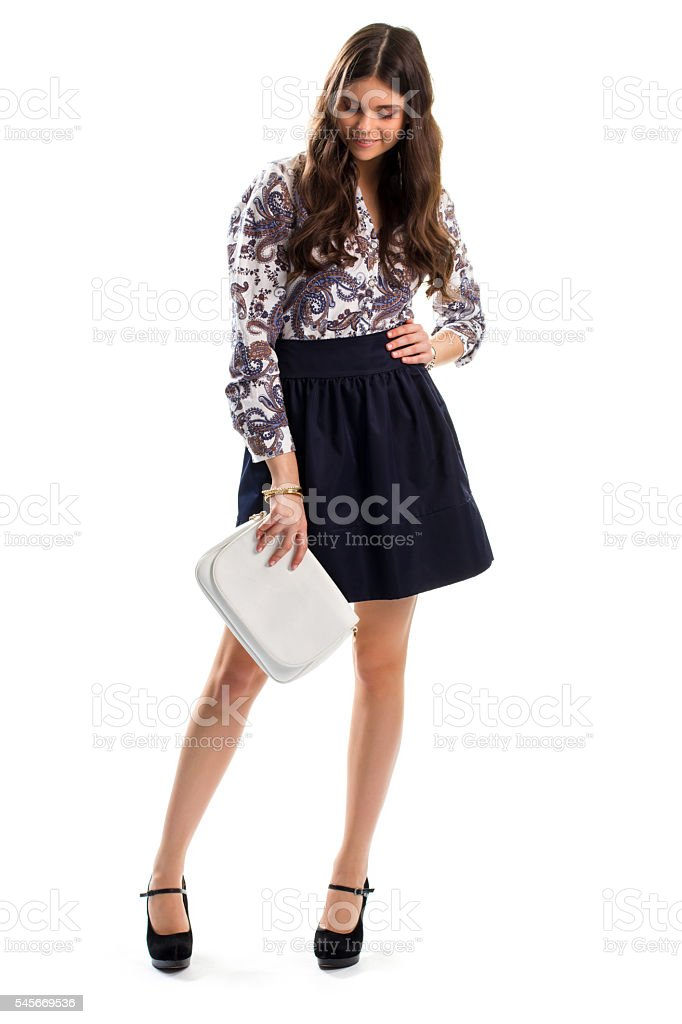 Girl in floral shirt smiling. stock photo