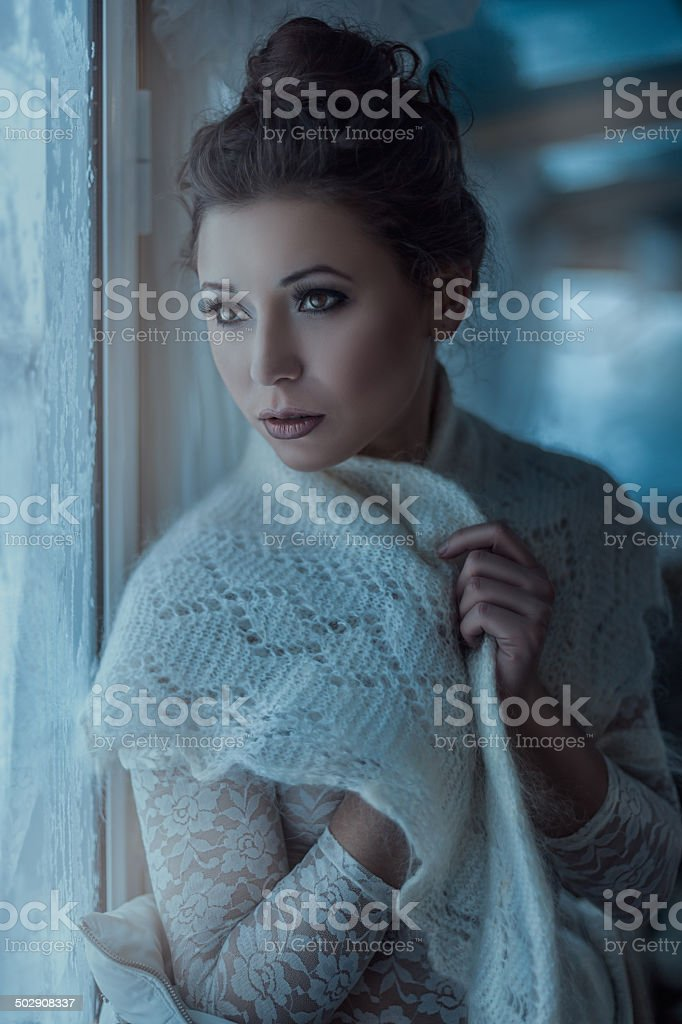 Girl in fluffy scarf. stock photo