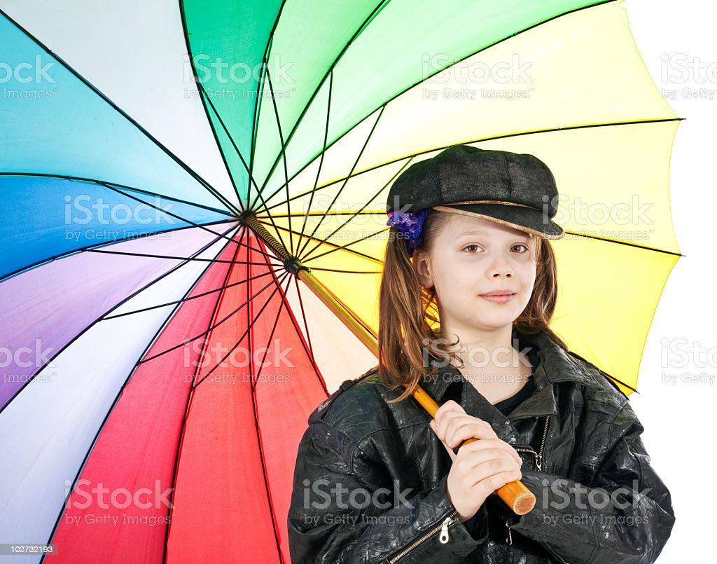 Girl  in funny cap royalty-free stock photo