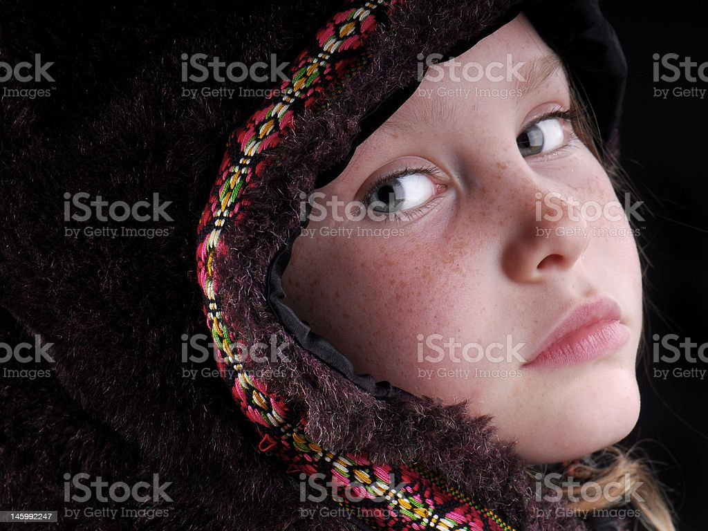 Girl in Fur Cape royalty-free stock photo