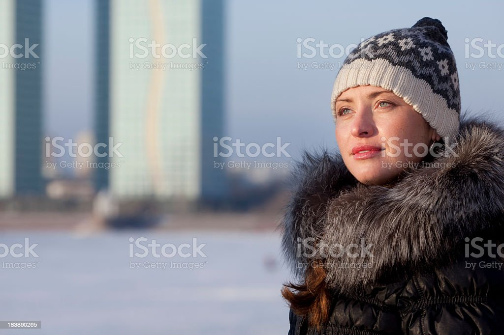 girl in fur hat at winter royalty-free stock photo