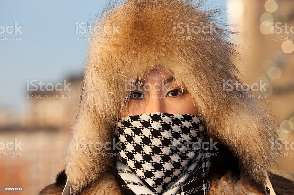 girl in fur hat royalty-free stock photo