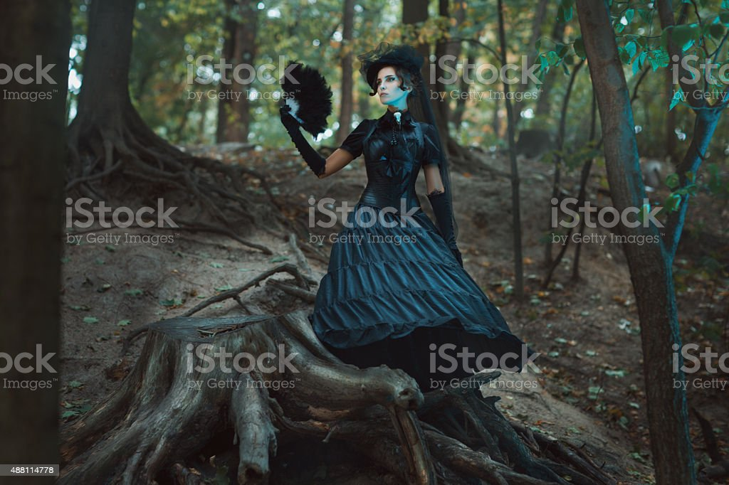 Girl in gothic dress standing among the snags forest. stock photo