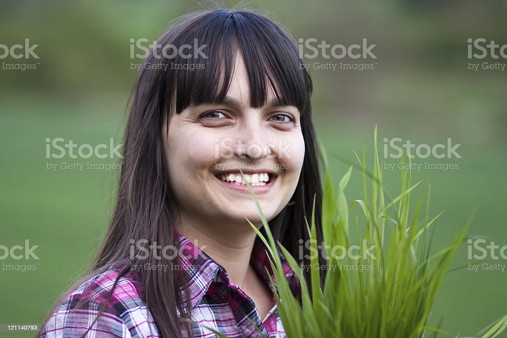 Girl in green field royalty-free stock photo