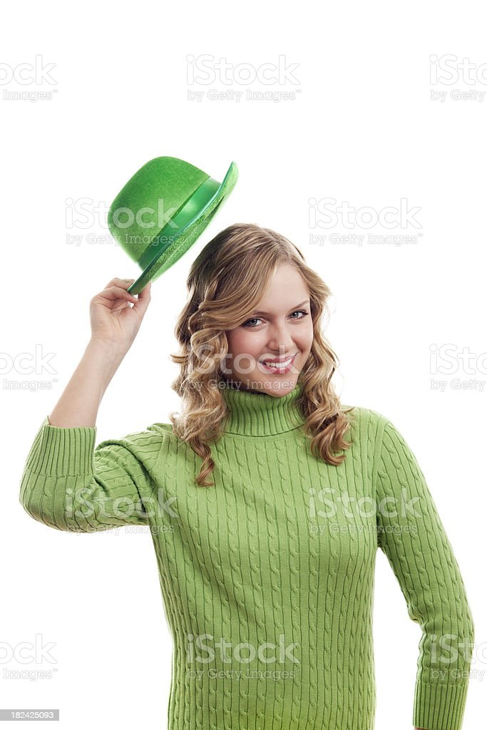 Girl in Green for St. Patrick's Day on White stock photo