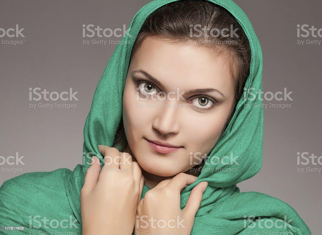 girl in green kerchief royalty-free stock photo