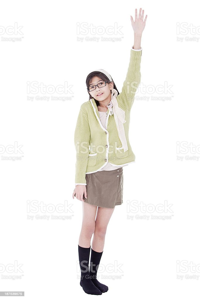 Girl in green sweater and glasses asking a question stock photo