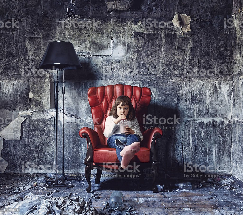 girl  in  grunge interior royalty-free stock photo