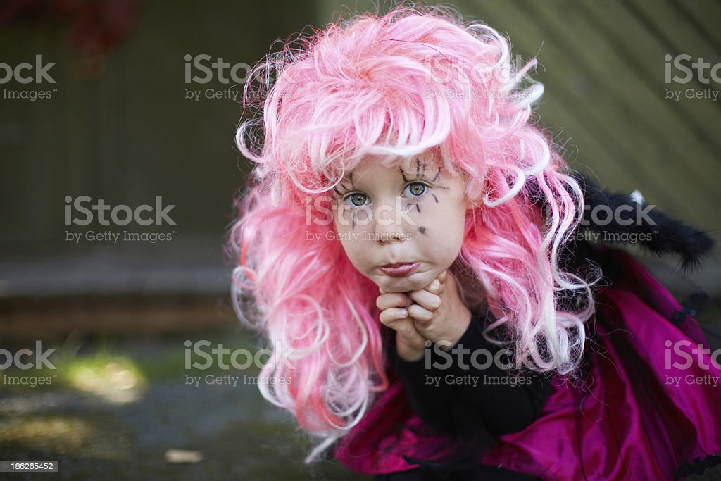 Girl in Halloween clothes royalty-free stock photo