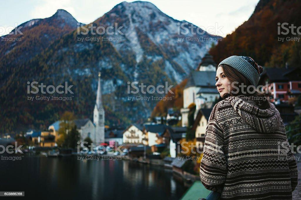 Girl in Hallstatt stock photo