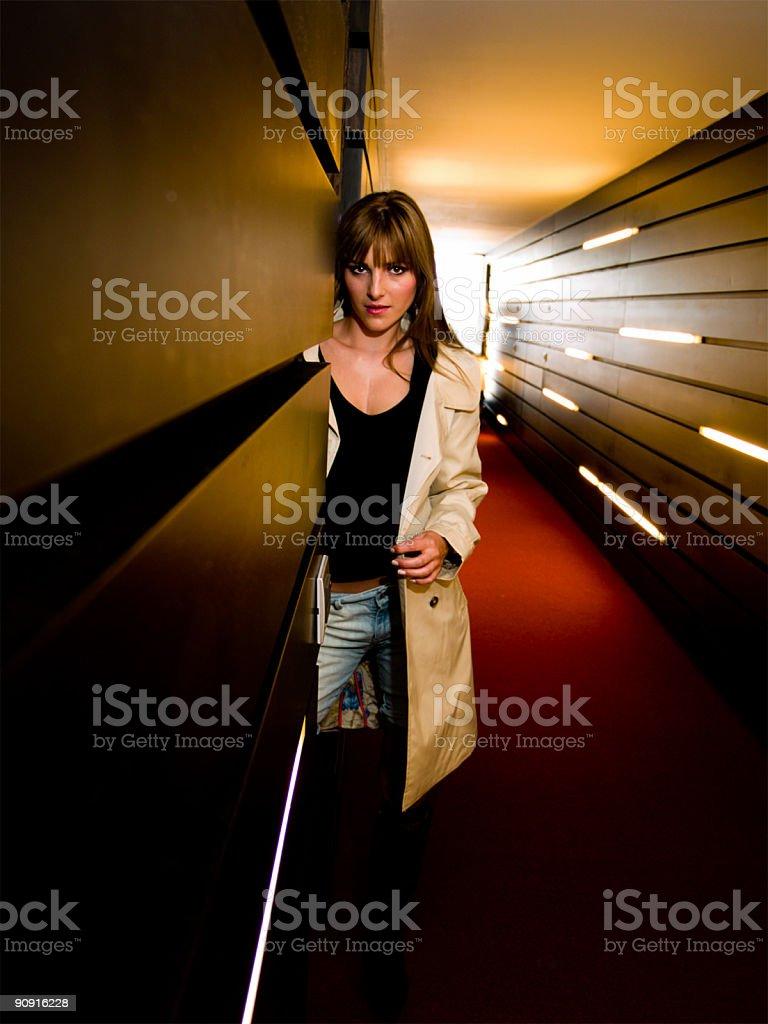 Girl in Hallway stock photo